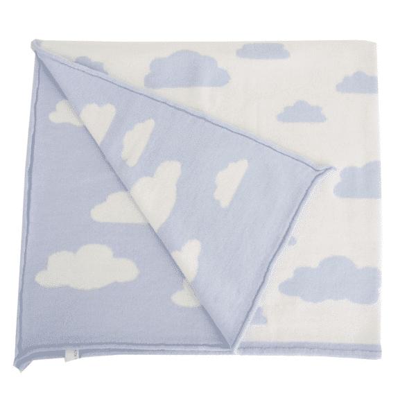 Baby Kochs Wolken-Babydecke hellblau/ecru 2