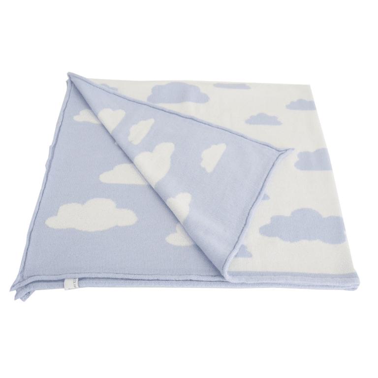 Baby Kochs Wolken-Babydecke hellblau/ecru