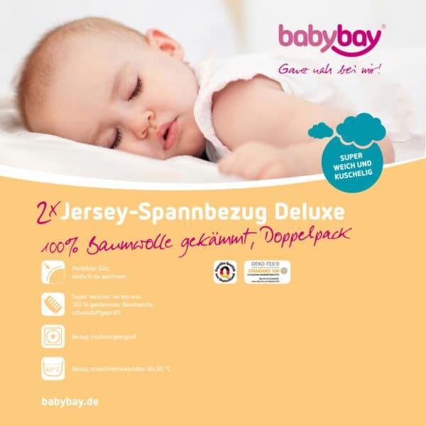 Babybay Jersey Spannbetttuch Doppelpack passend für Modell Original, weiß 2