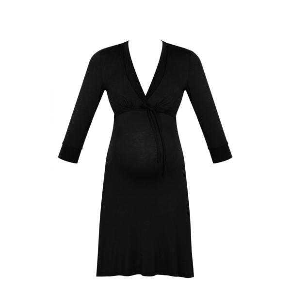 Cache Coeur Schwangerschafts- und Stillnachthemd, milk-schwarz