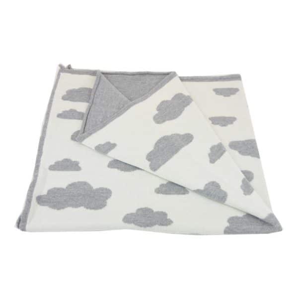 Baby Kochs Wolken-Babydecke grau/ecru 2