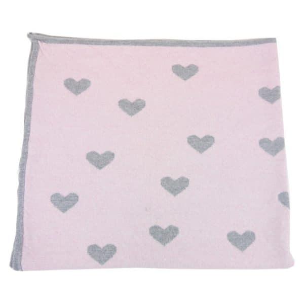 Baby Kochs Herzen-Babydecke rosa/grau 3