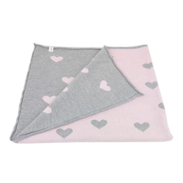 Baby Kochs Herzen-Babydecke rosa/grau