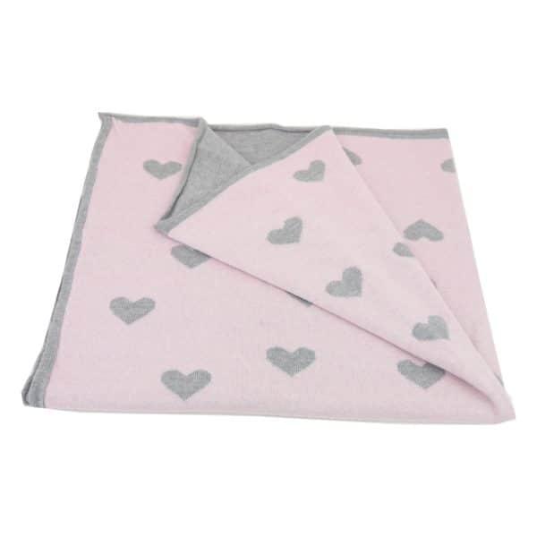 Baby Kochs Herzen-Babydecke rosa/grau 2