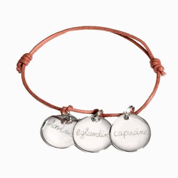 Pelina Bijoux Three charm Armband in silber/ individuelle Gravur