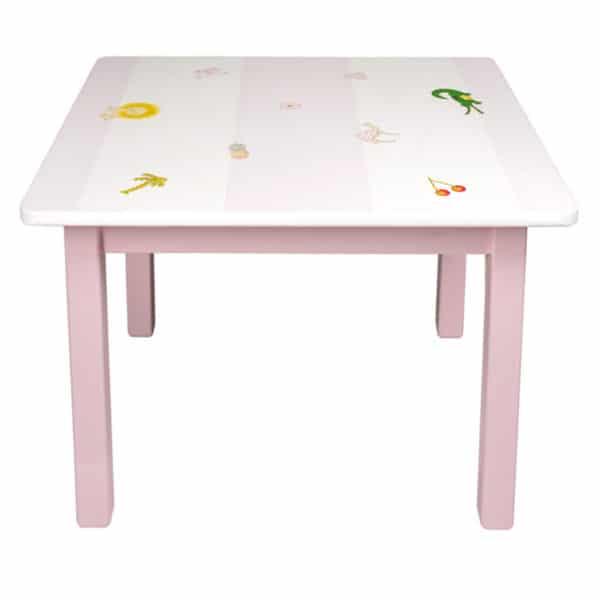 Kindertisch rosa-Blockstreifen-kleine Motive