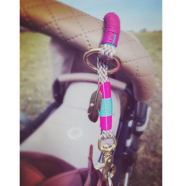Die Tauwerkstatt Wickeltaschenhalter Pink Camouflage Ibiza silber