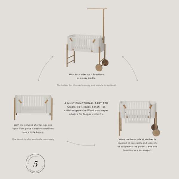 Oliver Furniture Wood Beistellbett inkl. Umbauset zur Bank, weiß/Eiche