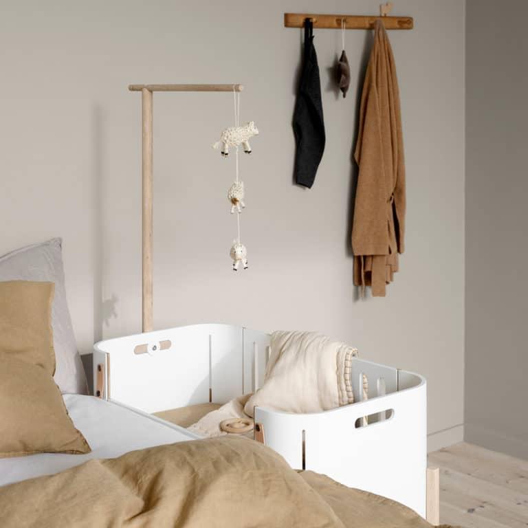Oliver Furniture Wood Beistellbett inkl. Umbauset zur Bank, weiß/Eiche 5