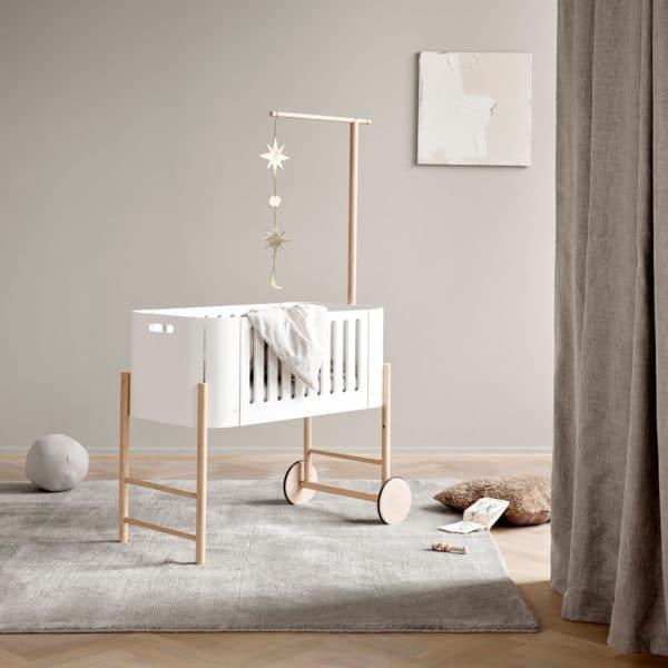 Oliver Furniture Wood Beistellbett inkl. Umbauset zur Bank, weiß/Eiche 4