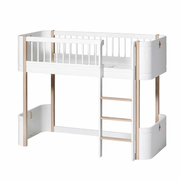Oliver Furniture Wood Mini+ halbhohes Hochbett weiss-eiche