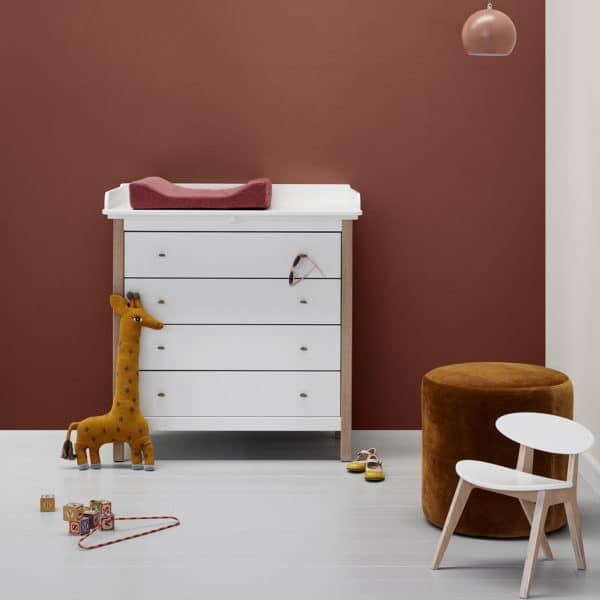 Oliver Furniture Wood Wickelkommode weiß/eiche - 4 große Schubladen