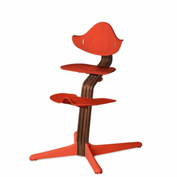 Nomi Highchair - Mittelsäule Premium - Walnuss/Walnusskern natur, burnt-orange