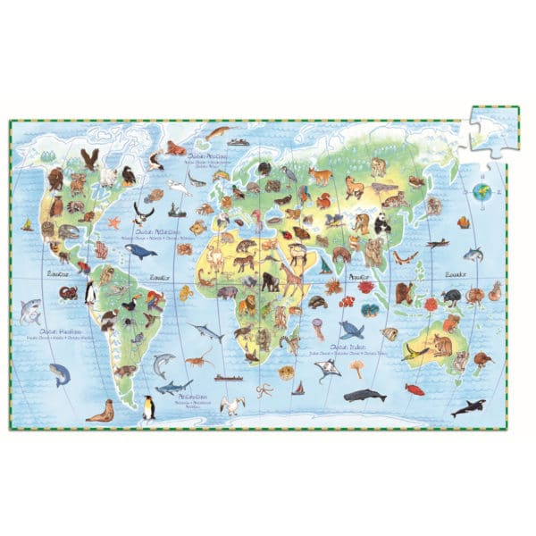 Djeco Wimmelpuzzle Planet mit Tieren + Buch 1