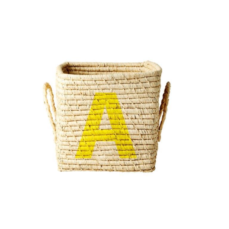 Rice Raffia Korb quadratisch mit Buchstaben A